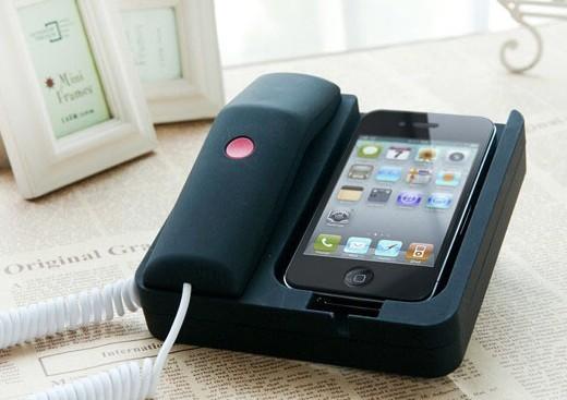 retro iphone landline dock handset speaker for iphone 4 iphone 4s 3g spy bug cell tv video. Black Bedroom Furniture Sets. Home Design Ideas