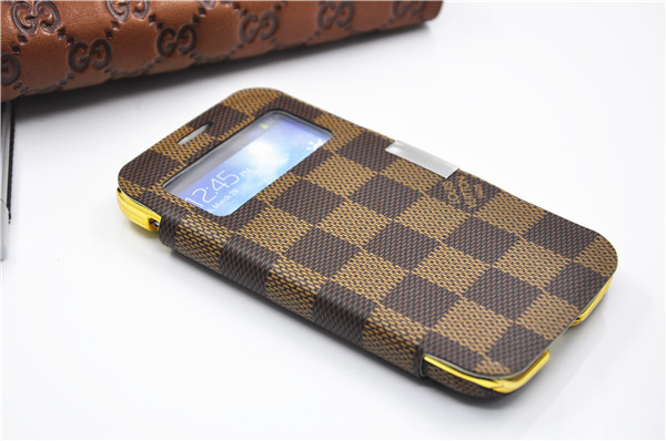 1c90c7aa6580 Louis Vuitton Leather Case For Samsung Galaxy S4 S-View Smart Wake Flip  Cover Folio Case Many Colors