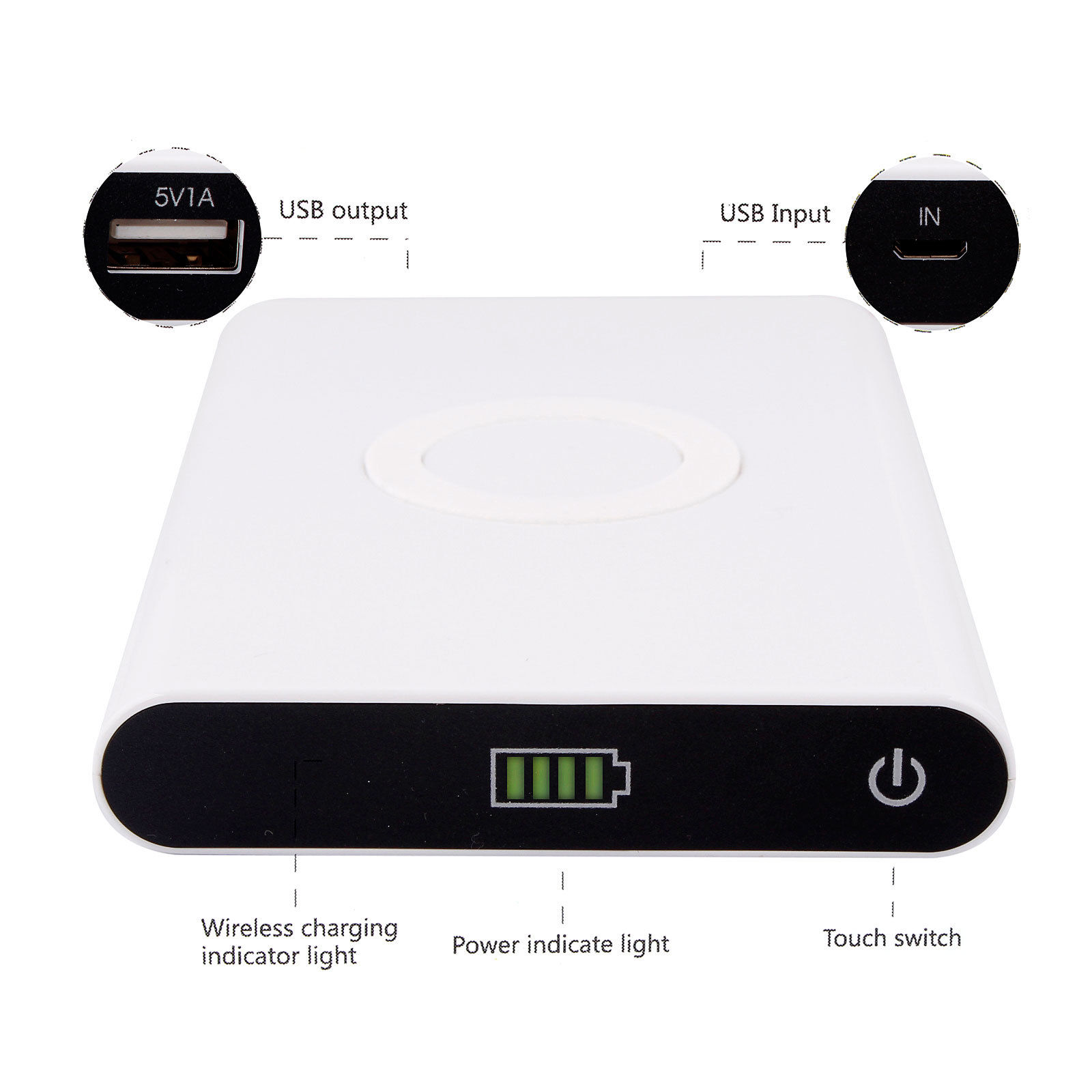 2in1 Newest Qi Universal Portable Wireless Charger Transmitter&Power