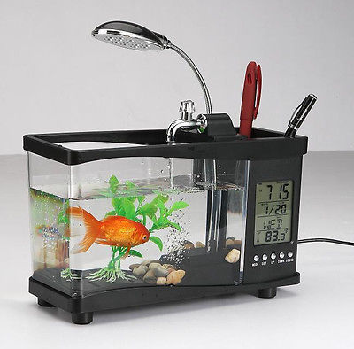 Mini USB LCD Display Desktop Fish Tank LED Clock Table Lamp Pen Case  Aquarium Best Christmas Gift White And Black