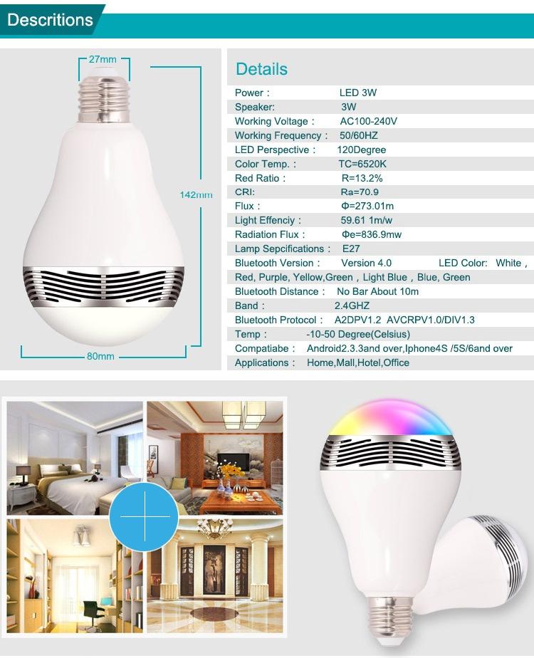 Wireless Bluetooth Smart Led Night Light Bulb Audio Music