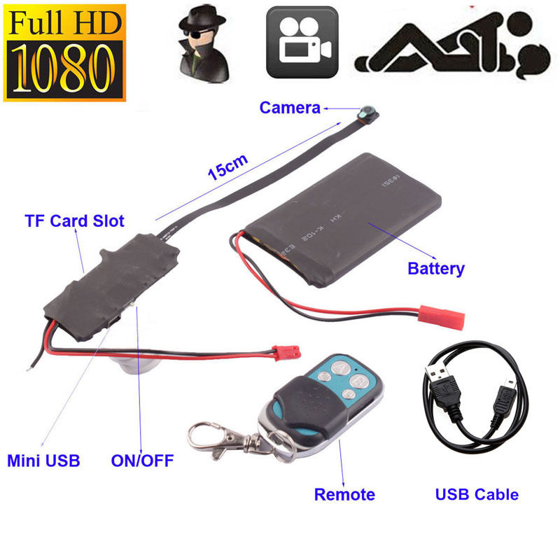 1080P Hidden Camera MINI DV DVR Motion Video Pinhole Module SPY Remote Control E
