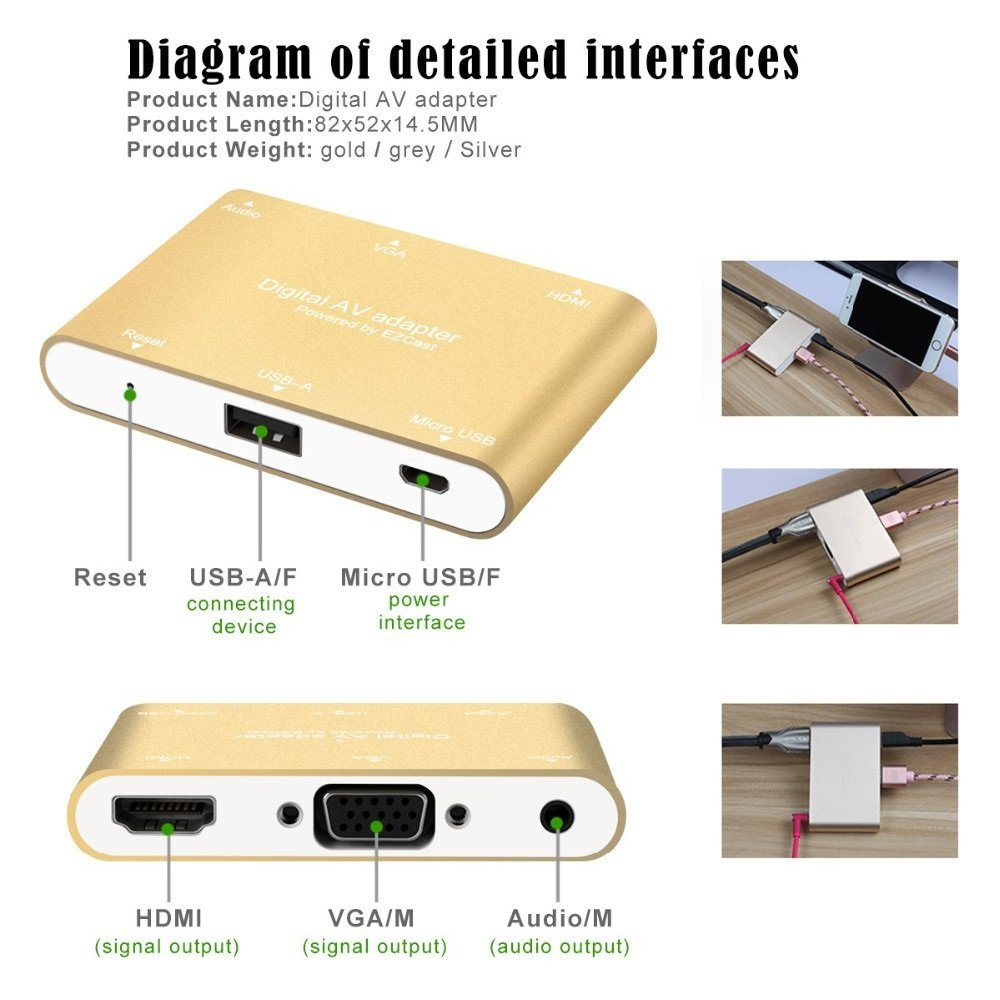 3 In 1 Digital Av Adapter Usb To Hdmi Vga Audio Video Converter For Dongle Iphone 7 6s 6 Plus 5s Ipad Samsung Ios Android Windows