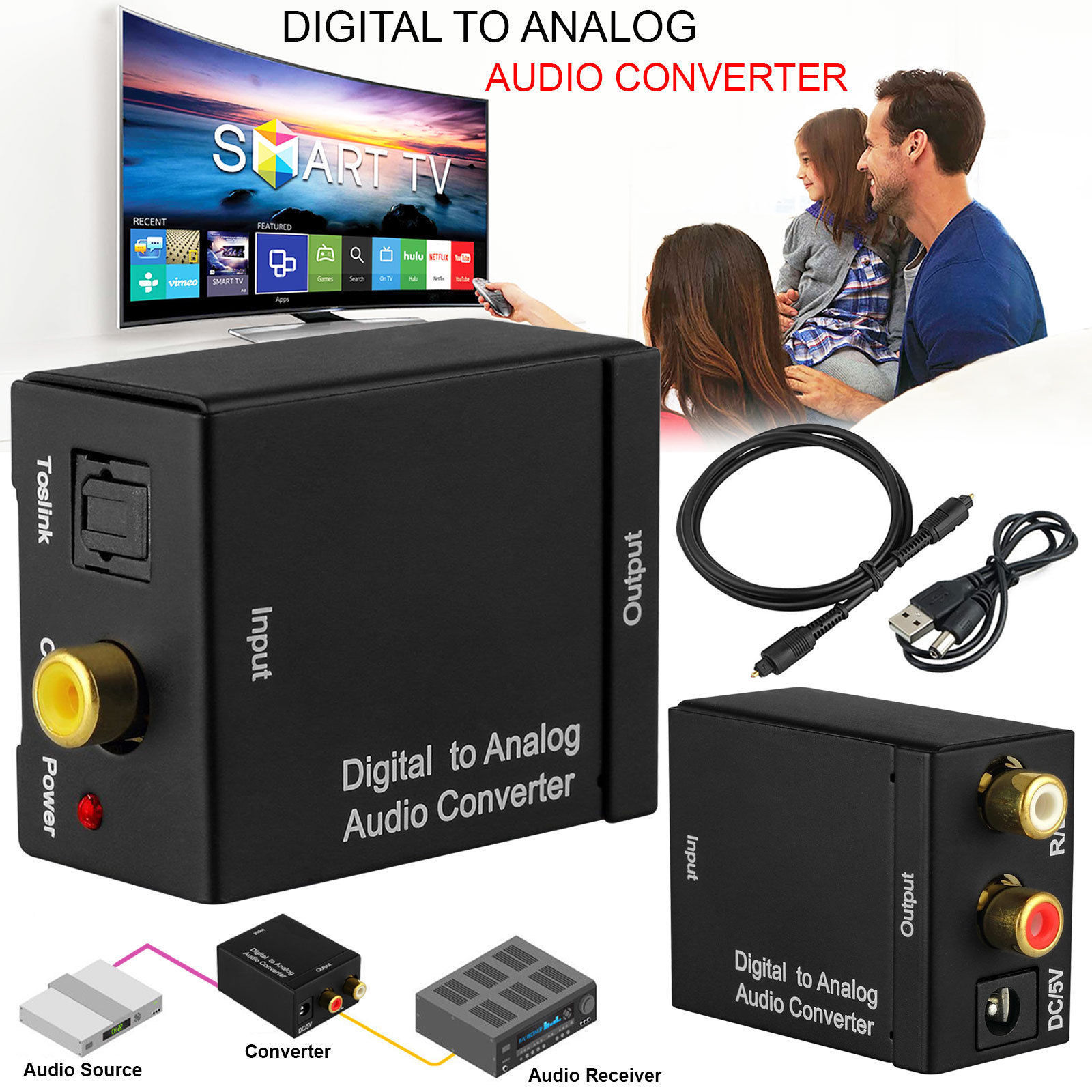 Toslink Signal Optical Coaxial Digital to og Audio Converter ... on audio cable, audio editing software, audio coding 3, audio files, audio playlist, audio maker,