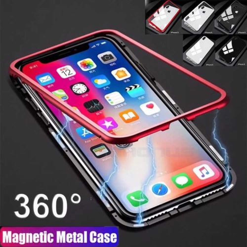 low priced ca984 ff2a1 Magnetic Adsorption Metal Tempered Glass Case For iPhone X 7 8 6S 6 ...